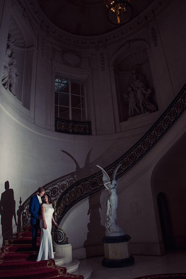 Bride and Groom, Wedding couple standing on the stairs at Luton Hoo