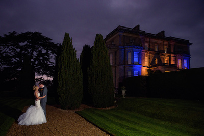 Night Photo of Bride and Groom at Hedsor House
